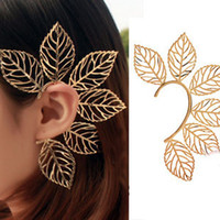Wholesale New Hot Rock Punk Hollow Out Leaf Leaves Non Piercing Ear Cuff Wrap Earring