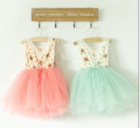 Wholesale up Mix order EMS FEDEX to AU US UK FR NL CA girl s Floral Cotton layer yarn super princess vest dress children s clothes Y AUG3