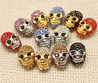 Wholesale 100PCS DIY jewelry accessories skull alloy Crystal Skull Loose Bead fit DIY bracelets necklaces