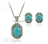 Wholesale Turquoise Jewelry Sets Factory Price Promotion Girls Stylish Ornament sets
