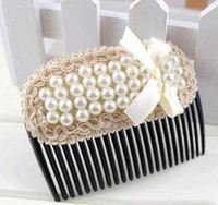 Wholesale Korean pearl lace ribbon wild ladies bow inserted comb hair clip headband accessories l