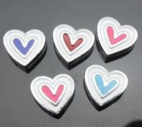 Wholesale mm Enamel heart Slide Charms DIY charms fit for mm bracelet