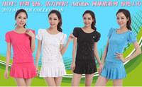 Wholesale The real thing female money short sleeve culottes sport suit tennis suit badminton suit