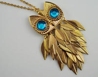 Wholesale Retro Vintage Owl Blue Diamond Eyes Fish Scales Pendant with Golden Chain Jewelry ljx7