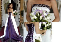 Wholesale New Wedding dress Evening formal dress gown White Purple