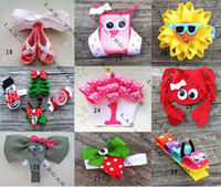 Wholesale baby animals hair clips girls hair clip children hair bow kid grosgrain ribbon bows