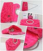 Wholesale Women ladies flower lace fabric beads multipurpose gorgeous bridal handle Hand bags I35