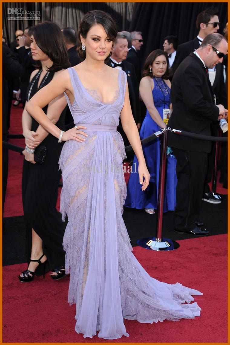 Oscar Awards Sexy V Neck Celebrity Evening Dress Lace