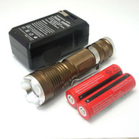 Wholesale Factory outlets Hot Zoomable Lm W CREE XML T6 Rechargeable Flashlight Torch X18650 Charger
