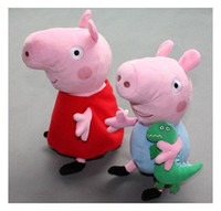 Wholesale peppa pig amp george pig pink cartoon stuffed plush large size cute kids toddler toys