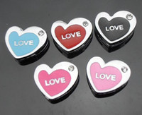 Wholesale mm love heart Slide Charms Zinc Alloy Fit mm phone strips DIY Accessories
