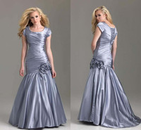 Wholesale 2013 Sliver Hot Style Short Sleeve Ruffle taffeta Mermaid Modest Prom Evening Formal Dresses Dress