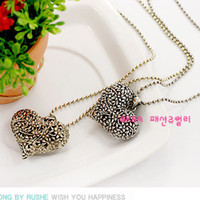 antique vintage jewelry - Heart Necklaces vintage retro Heart hollow pendant Antique necklace charms cheap fashion jewelry
