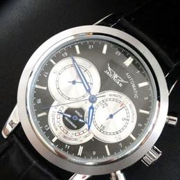 jaragar mens wrist watches automatic mechanical black leather luxury dive watch men fashion designer