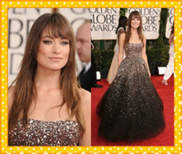 Wholesale 2012 Golden Globe Olivia Wilde Luxury Sequins Beads Strapless Tulle A Line Celebrity Evening Dresses