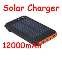 Wholesale 12000mAh Solar Charger External Battery Universal Power Station for Mobile iphone Laptop