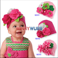 Wholesale 2012 New Baby Beanie Hat with Cute Flowers Christmas Gift Beanie Hats for Girl s Flower Beanie
