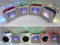 Wholesale U10pcs DHL shipping SB Music Speaker Mini Speaker LCD Screen with SD TF Card FM LED Light TT