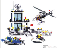 Wholesale LEGO Plastic Toy Educational Toys To Fight He Building Blocks To Insert The Water Police Station