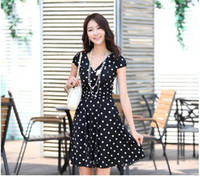 Wholesale Hot Sell Details V neckline polka dot Print Cocktail Party Drape Ruffle Waist Mini Dress