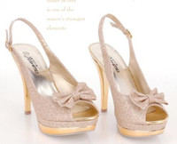Women ladies shoes size - high heel shoes new sexy lady beige bow pump platform women size