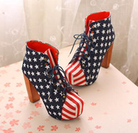 Wholesale WOMENS LADIES AMERICAN Girl LACE UP PLATFORM HIGH BLOCK HEEL SHOES BOOTS