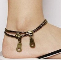 Wholesale Zipper anklet women couple retro Anklets double layer fashion Korean
