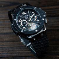 Fashion best mechanical wrist watch - jaragar big bang black best men fashion tourbillion stainless mechanical dive mens sport wrist watch