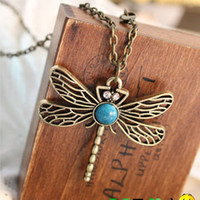 Wholesale Vintage Animal Necklace dragonfly pendant Antique new necklace charm Gift cheap fashion jewelry
