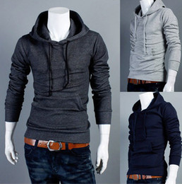 Wholesale Free Ship Slim Fit Mans Pullover Hoodies Solid Cotton hoody For Man Color M XXL Drop Shipping