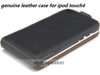 Wholesale FreeShipping new flip genuine leather case protective cover for ipod touch4 touch