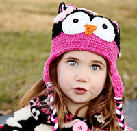 Girl babys beanie cap - babys Caps owl crochet hat with flower baby crochet hats infant beanie infant knitted Cap