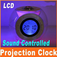 Wholesale LCD Sensor Voice Talking Projection Sound Control Alarm Clock