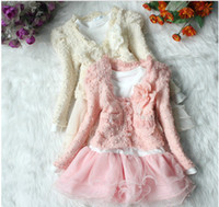 Wholesale New Design Lace suits girl sweet flower coat long sleeve dress children fashion clothing set