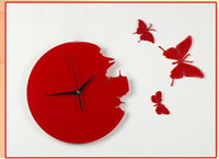 Wholesale HOT SELLING Wall Clock Plastic Clock Butterfly Clock DIY amp Retail A25 Free Shippiin