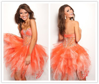 Wholesale Strapless Sweetheart A line Stone Beaded Ripped Tulle Skirt Orange Homecoming Dress Short Prom Gowns