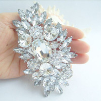 Wholesale 4 quot Gorgeous Bridal Flower Brooch Pin w Clear Rhinestone Crystals EE04060W
