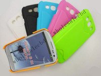 Cheap 300pcs lot New Plastic Hard Back Cover with Credit Card Slot for Samsung Galaxy S3 SIII i9300