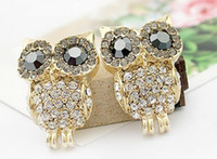 Wholesale 2012 new Fashion Jewelry beautiful lovely shiny full diamond owl alloy earrings g pair