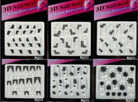 Wholesale 30PCS Nail Art D Sticker Decal White amp Black Flowers amp Rhinestone D Nail Seal NQ01