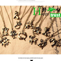 Wholesale vintage Zodiac Charms Necklaces twelve constellations pendant Hot charm Gift cheap fashion jewelry