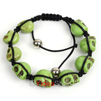 Wholesale 16pcs Handmade Green Skull Synthetic Turquoise Beads Craft Bracelets Fit Gift