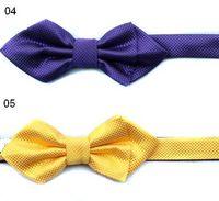 Wholesale men s bow ties pink tie knots colors men s sharp bowties solid color F