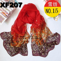 Fashion Scarf Lady Scarves Chiffon Hot Sales Gradient Red Le...