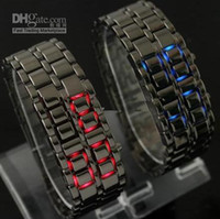 Wholesale New Great Mens Black Lava Style Iron Samurai LED Metal Watch Men s Electronics Watches