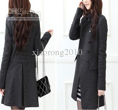 DARK GREY Women Lady Girl Wool Felt Coat Outerwear Overcoat Coat ...