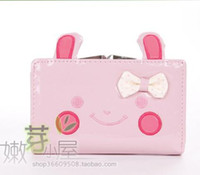 Wholesale pu Wool coat of paint cartoon rabbit bowknot short medium long style women wallet lady s wallet