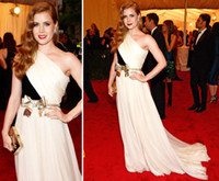 Reference Images adams reds - Sexy Black White One Shoulder Celebrity Gown Contrast Color Chiffon Evening Dress Dresses Amy Adams