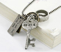 Wholesale Vintage Style Alloy Cards Key Ring Pendant Necklace unisex jewelry