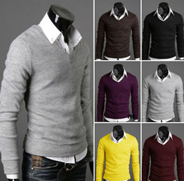 Wholesale Much color Thicken Solid Color Winter Men s sweaters Pullover Fashion V neck man s Sweater Drop Ship
